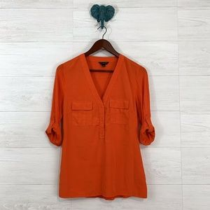 Banana Republic Orange Mixed Media Blouse